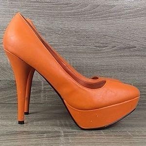 Halloween pumpkin orange platform stiletto heel